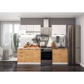 Кухня Дуся 2.0 (белый-буранти)
